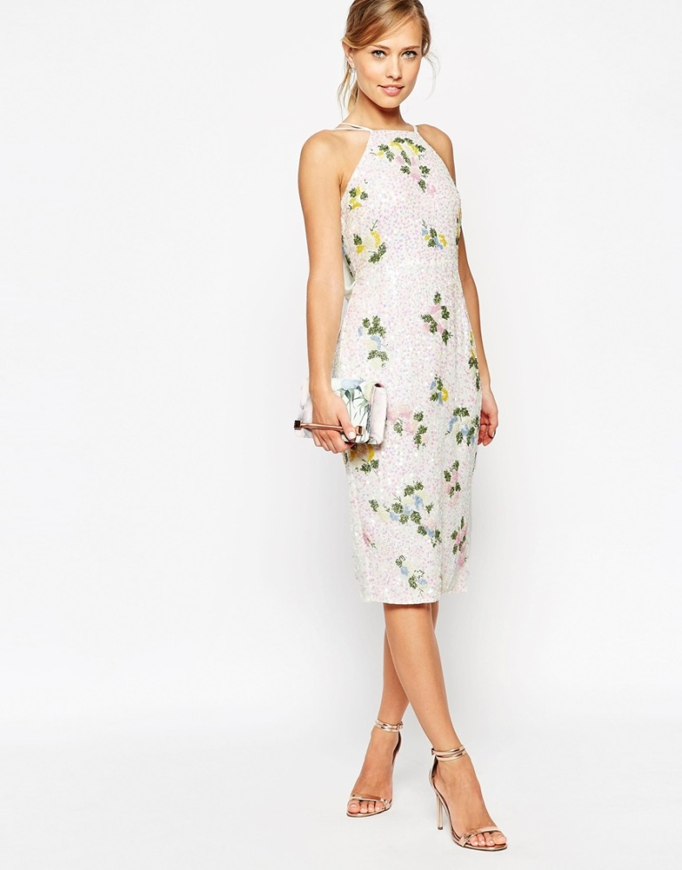 ASOS SALON Drape Back Floral Iridescent All Over Sequin Pencil Dress 2