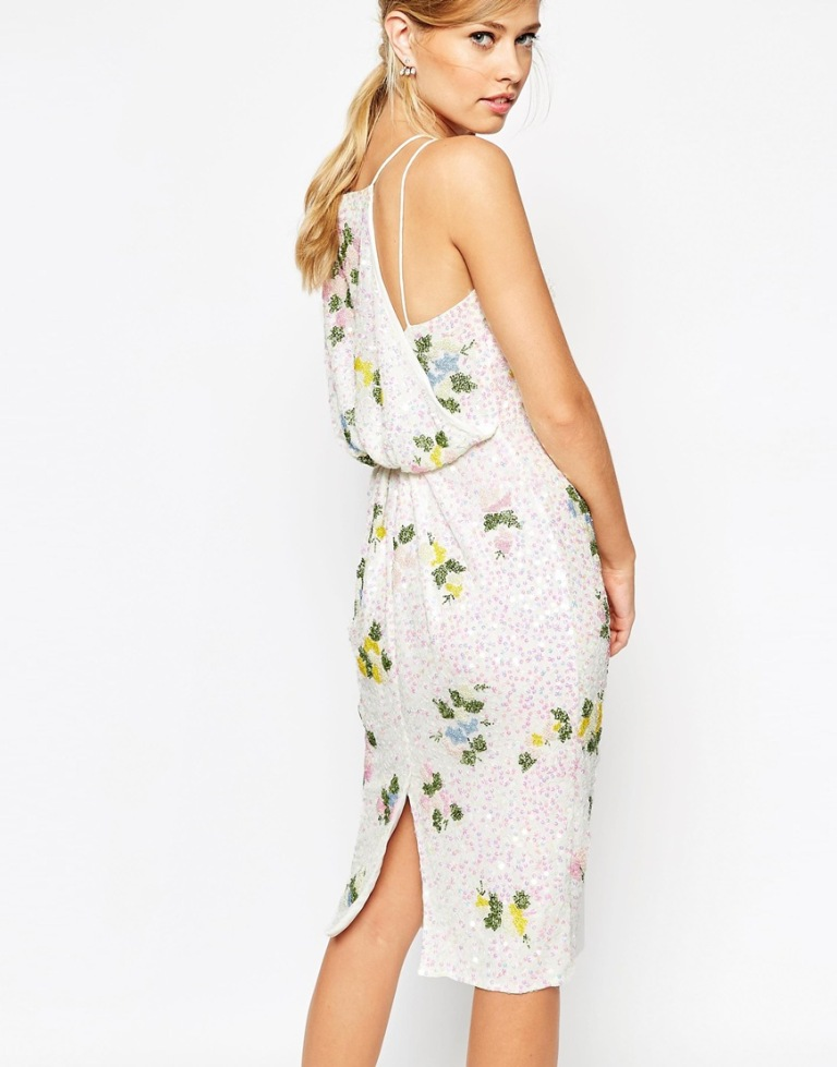 ASOS SALON Drape Back Floral Iridescent All Over Sequin Pencil Dress 3