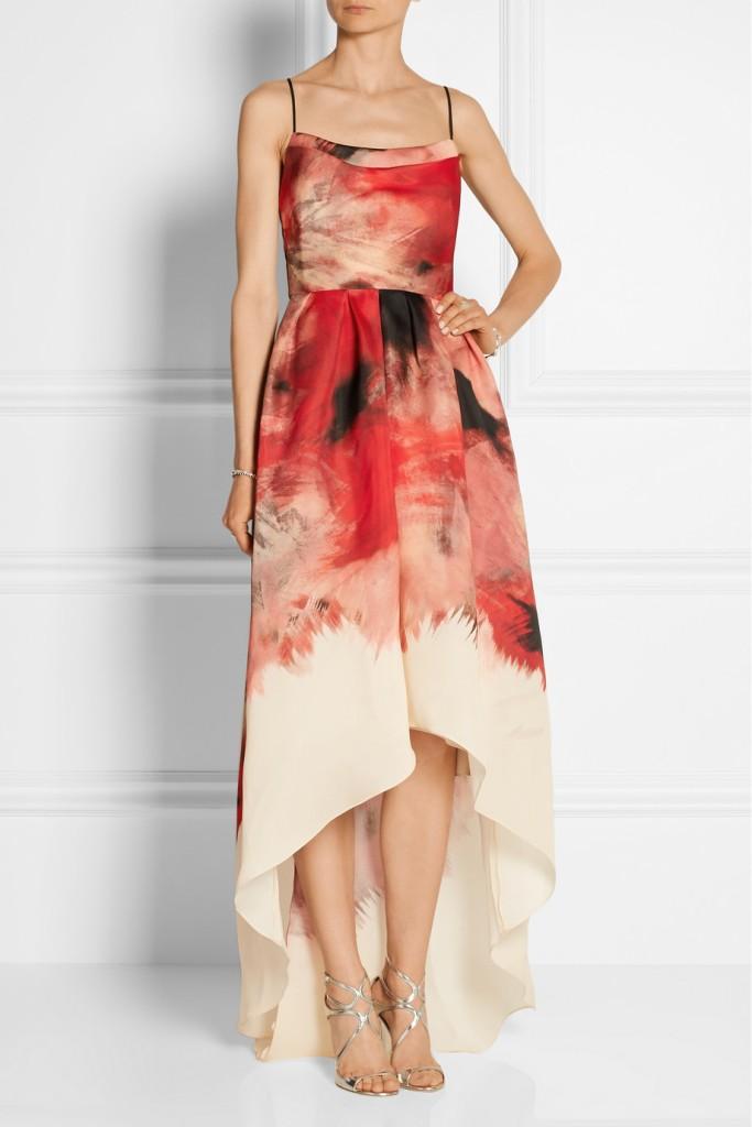Printed silk-gazar gown leila rose