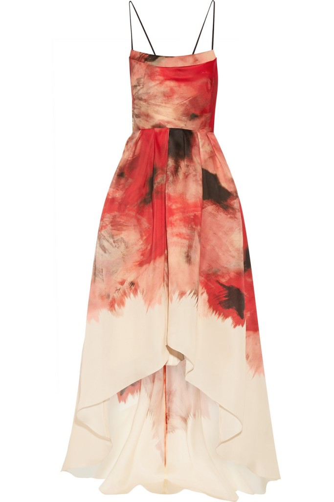 Printed silk-gazar gown lela rose